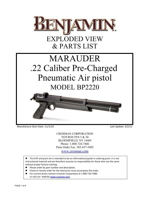 MARAUDER  22 Caliber Pre-Charged Pneumatic Air pistol - Crosman