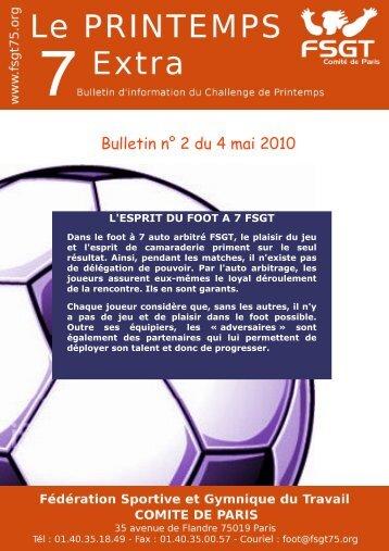 Bulletin n° 2 du 4 mai 2010 - Le challenge du Printemps FSGT