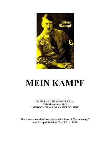 Adolf Hitler - Mein Kampf english translation unexpurgated 1939