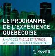 le programme de llexpérience québécoise deux con - Immigration ...