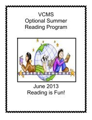 VCMS Summer Reading Packet