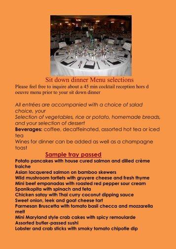 Sample sit down dinner menu - Chouinard's Cuisine