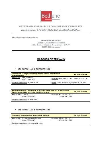 MARCHES DE TRAVAUX - Ville de Béthune