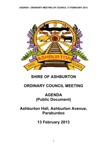 Agenda - Ordinary Meeting of Council 13 February 2013 - Shire of ...
