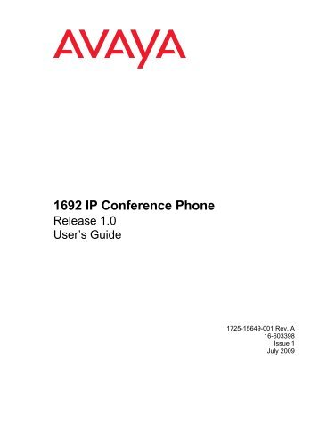 Avaya 1692 IP Conference Phone User's Guide