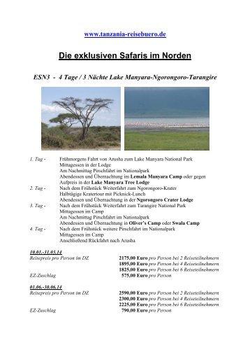 ESN3 - 4 Tage/3 Nächte Lake Manyara-Ngorongoro-Tarangire