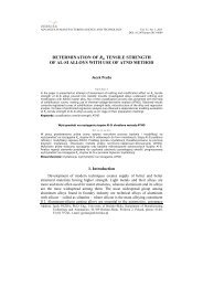 DETERMINATION OF Rm TENSILE STRENGTH OF AL-SI ALLOYS ...
