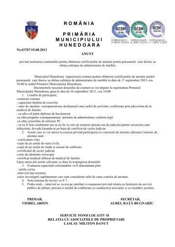 anunt atestare - Primaria Municipiului Hunedoara