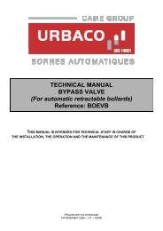 TECHNICAL MANUAL BYPASS VALVE - URBACO : Bollards