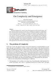 On Complexity and Emergence - Complexity International