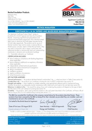 Eurothane Bi-3, Bi-3A Tapered and Silver Roof Insulation Boards