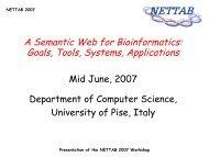 Presentation of NETTAB 2007 Workshop - NETTAB Workshops