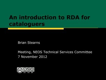 Introduction to RDA for cataloguers (November 7, 2012)