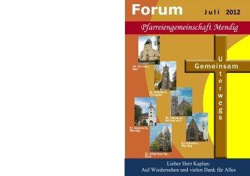 Forum J uli 2012 - Pfarreiengemeinschaft Mendig