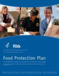 Food Protection Plan - Food and Drug Administration