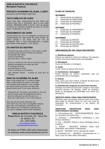Academia da Alma 1 ORGANIZAÇÃO DE CADA ... - Prazer da Palavra