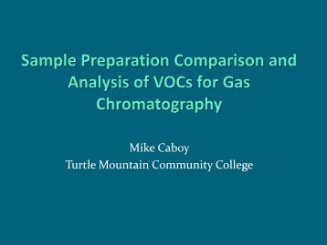 Sample Preparation Comparison and Analysis of VOCs for Gas ...