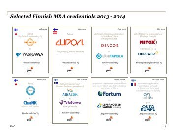 Selected Finnish M&A credentials 2011 - 2013 - PwC