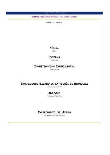 Experimento basado en la Teoría de Bernoulli - Feriadelasciencias ...