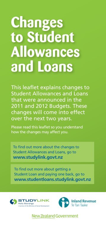 Changes to Student Allowances and Loans - StudyLink