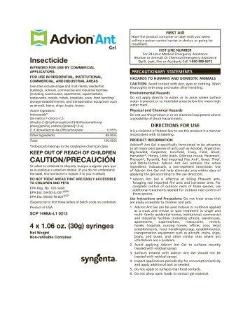 Advion Ant Gel Label
