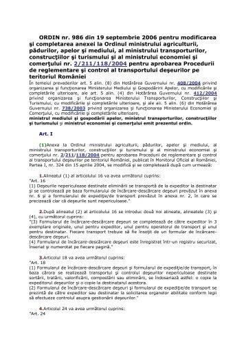 ORDIN nr. 986 din 19 septembrie 2006 pentru modificarea ... - Ecotic