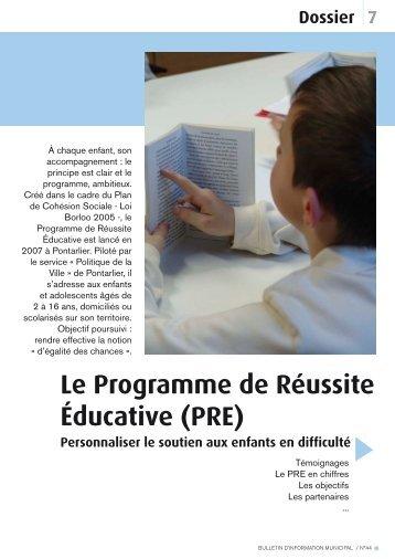 Le Programme de Réussite Éducative (PRE) - Ville de Pontarlier
