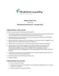 MOBILE LOYALTY PLC Bokslutskommuniké Januari – December ...