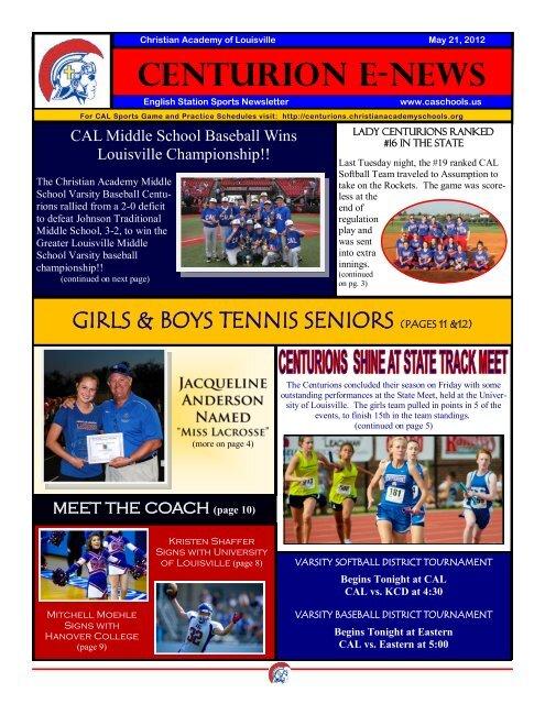eNews 05/21/2012 - Christian Academy School System