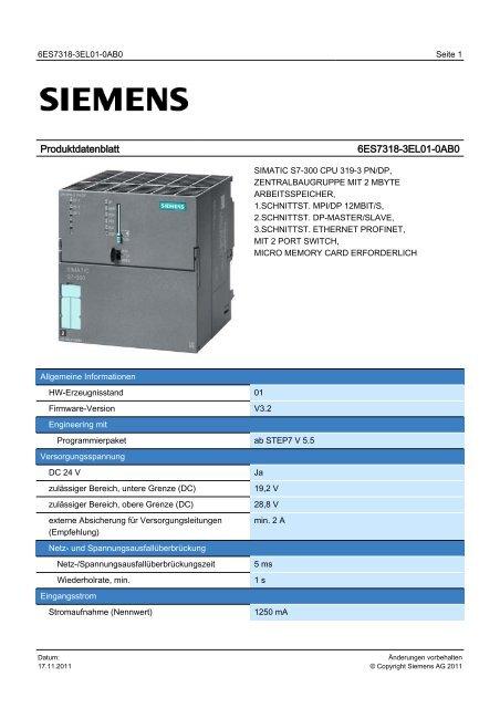 Product data sheet 6ES7318-3EL01-0AB0 - TP Automation eK