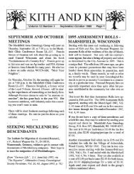 September - October 1995 - Marshfield Area Genealogy Group