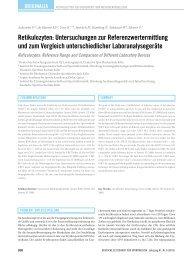 Retikulozyten: untersuchungen zur Referenzwertermittlung und zum ...