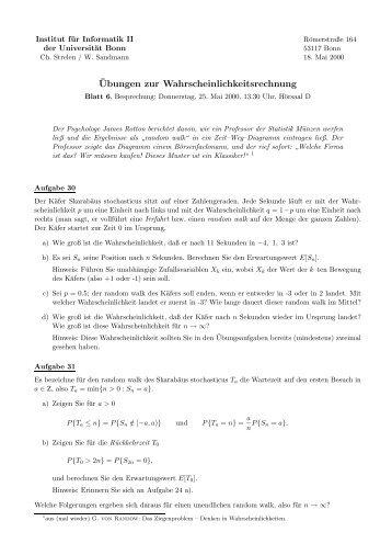 ¨Ubungen zur Wahrscheinlichkeitsrechnung - Universität Bonn