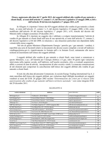 elenco soggetti abilitatii vendita gas 1 aprile 2013 - Snam