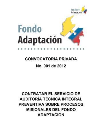 Contratar el servicio de auditoría técnica integral - Fondo Adaptación