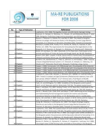 MA-RE Publications 2006 (PDF) - UCT Marine Research Institute