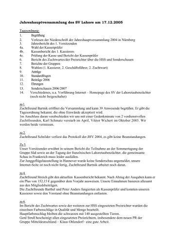 Protokoll der letzten JHV Mertendorf - Lahoretauben