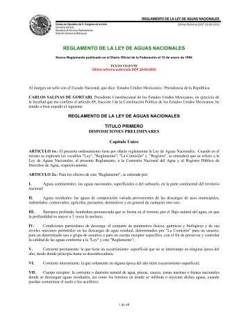 REGLAMENTO DE LA LEY DE AGUAS NACIONALES