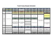Youth Camp Sample Schedule