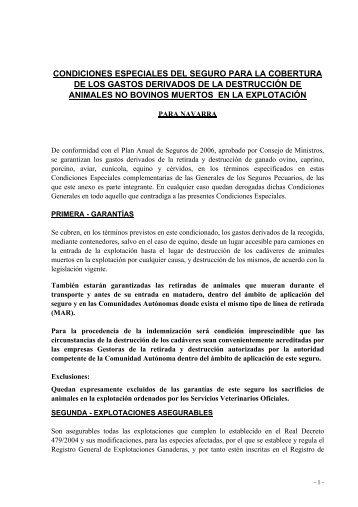 CONDICIONES ESPECIALES DEL SEGURO PARA ... - ITG Ganadero