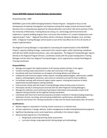 project respond regional training manager job description - Practice Director Job Description