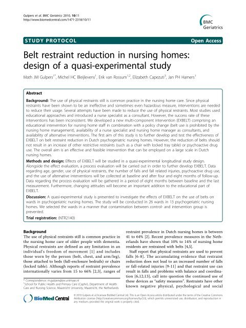 Belt restraint reduction in nursing homes: design of