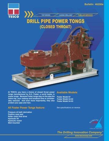 46200e Drill Pipe Power Tongs - TESCO Corporation