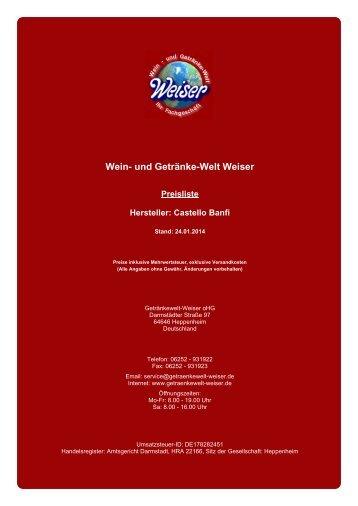 Preisliste für Hersteller: Castello Banfi - und Getränke-Welt Weiser