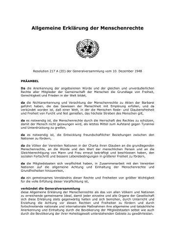 Menschenrechte (4): UNO-Erklärung von 1948