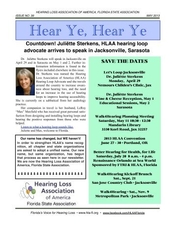 May 2013 E-Newsletter - Hearing Loss Association of Florida