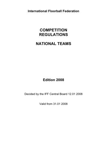 COMPETITION REGULATIONS NATIONAL TEAMS - IFF