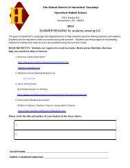 2013 MS Sum Read letter & list - Haverford Township School District