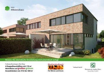 4 Doppelhaushälften mit 170 m Grundstücken ... - Kurz Immobilien