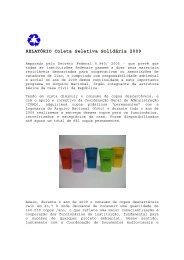 RELATÓRIO Coleta Seletiva Solidária 2009 - Arquivo Nacional